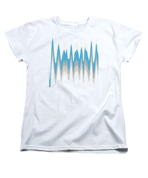 Women's T-Shirt (Standard Cut) featuring the mixed media Ice Blue Abstract by Christina Rollo