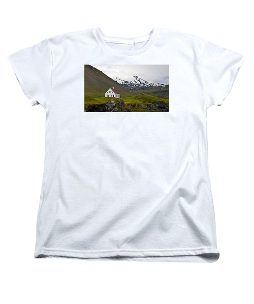 Women's T-Shirt (Standard Cut) featuring the photograph Iceland House And Glacier by Joe Bonita