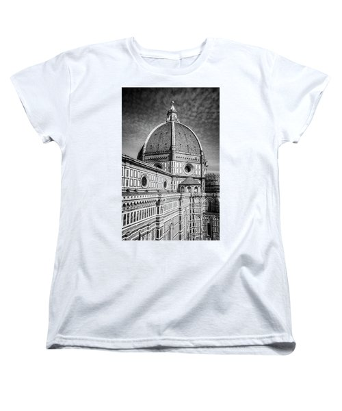 Women's T-Shirt (Standard Cut) featuring the photograph Il Duomo Florence Italy Bw by Joan Carroll