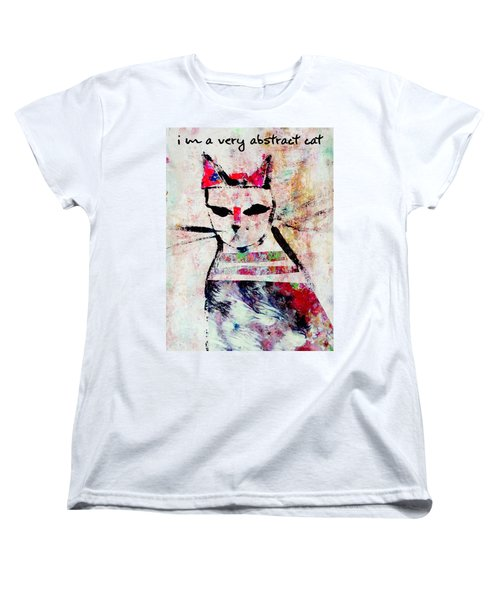 Women's T-Shirt (Standard Cut) featuring the mixed media I'm A Very Abstract Cat by John Fish