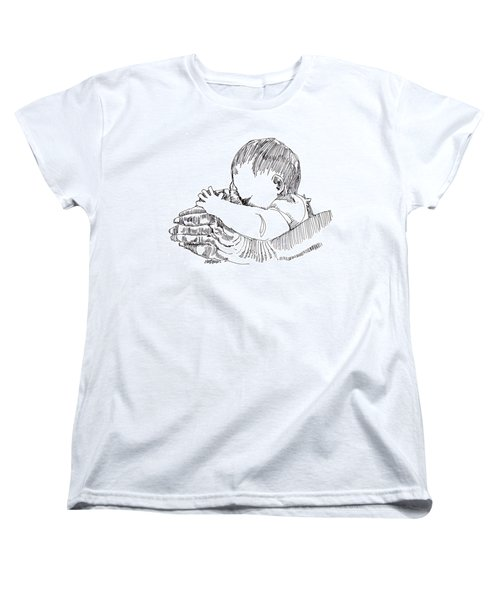 Women's T-Shirt (Standard Cut) featuring the drawing In His Hands by Seth Weaver