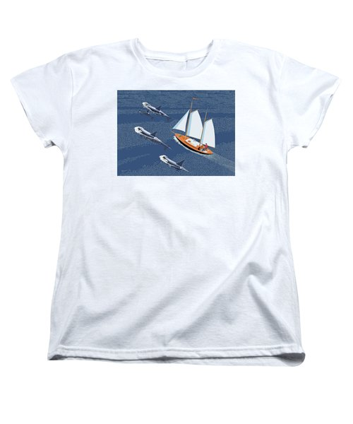 Women's T-Shirt (Standard Cut) featuring the digital art In The Company Of Whales by Gary Giacomelli