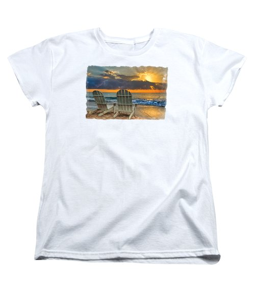 In The Spotlight Bordered Women's T-Shirt (Standard Cut) by Debra and Dave Vanderlaan