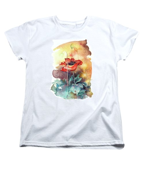 Women's T-Shirt (Standard Cut) featuring the painting In The Turquoise Coat by Anna Ewa Miarczynska