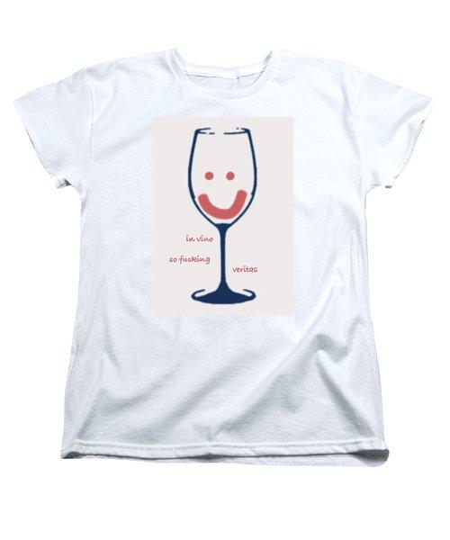 Women's T-Shirt (Standard Cut) featuring the drawing In Vino So Fucking Veritas by Frank Tschakert