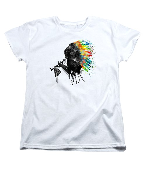 Women's T-Shirt (Standard Cut) featuring the mixed media Indian Silhouette With Colorful Headdress by Marian Voicu
