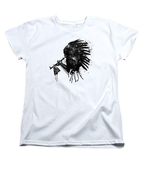 Women's T-Shirt (Standard Cut) featuring the mixed media Indian With Headdress Black And White Silhouette by Marian Voicu