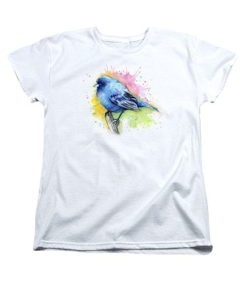 Indigo Bunting Blue Bird Watercolor Women's T-Shirt (Standard Cut) by Olga Shvartsur