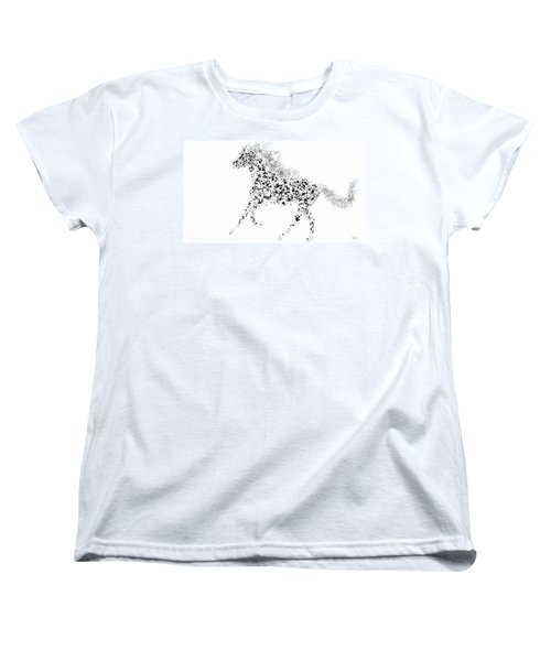 Women's T-Shirt (Standard Cut) featuring the drawing Ink Splattered Stallion by Nick Gustafson