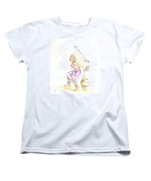 Women's T-Shirt (Standard Cut) featuring the painting Intore Dance 2 From Rwanda by Emmanuel Baliyanga