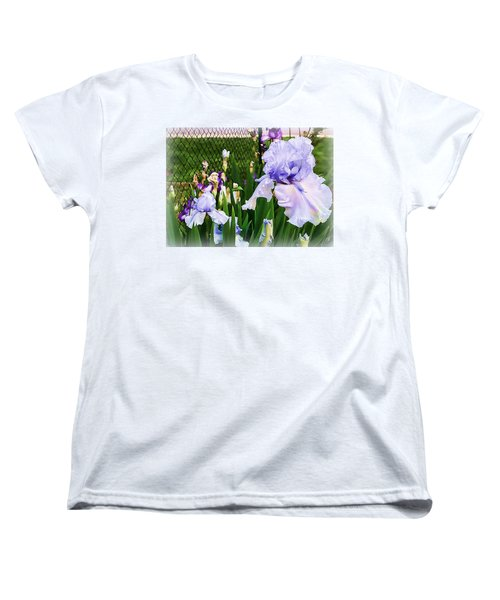 Iris At Fence Women's T-Shirt (Standard Cut) by Larry Bishop