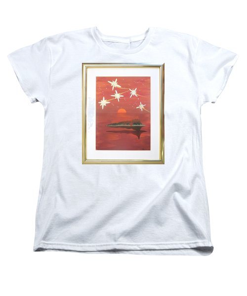Women's T-Shirt (Standard Cut) featuring the painting Island In The Sky With Diamonds by Ron Davidson