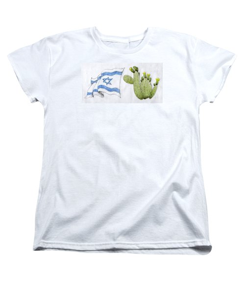 Women's T-Shirt (Standard Cut) featuring the drawing Israel by Annemeet Hasidi- van der Leij