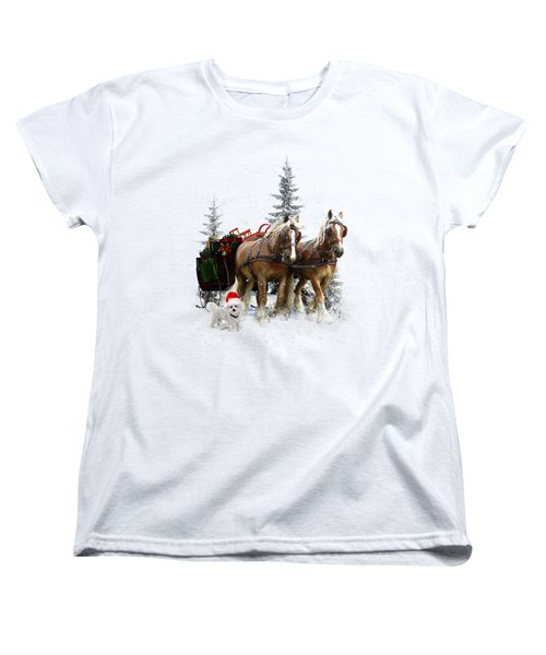 Women's T-Shirt (Standard Cut) featuring the painting A Christmas Wish by Shanina Conway