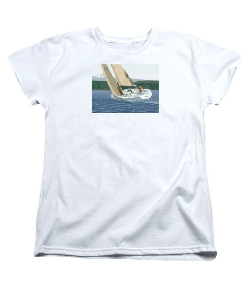 J-109 Sailboat Off Comox B.c. Women's T-Shirt (Standard Cut) by Gary Giacomelli