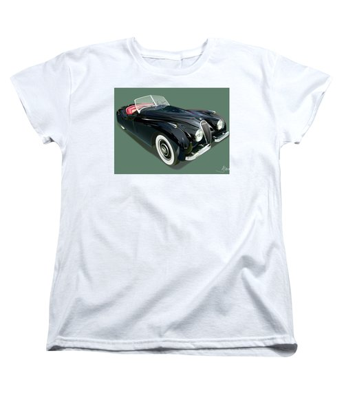 Jaguar Xk 120 Illustration Women's T-Shirt (Standard Cut) by Alain Jamar