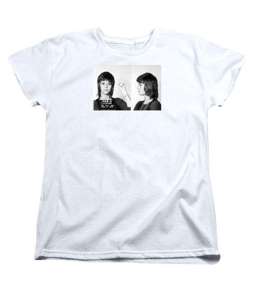 Jane Fonda Mug Shot Horizontal Women's T-Shirt (Standard Cut) by Tony Rubino