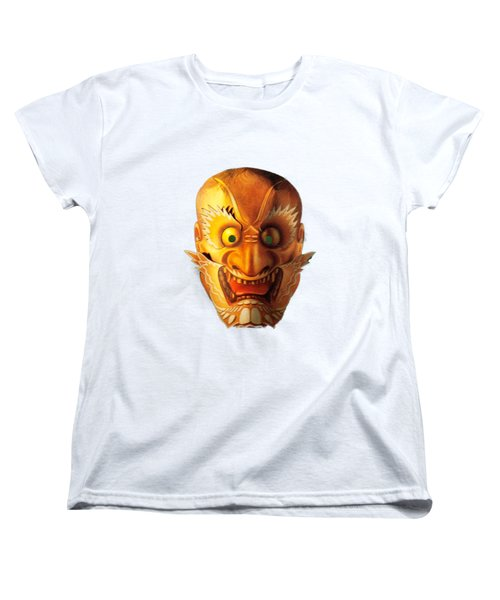 Japanese Mask Cutout Women's T-Shirt (Standard Cut) by Linda Phelps