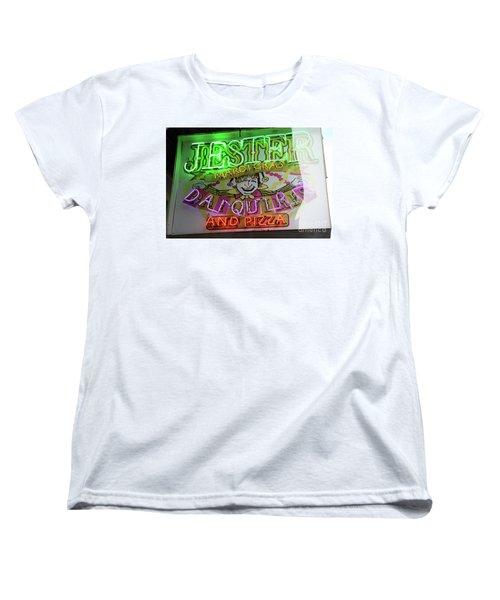 Women's T-Shirt (Standard Cut) featuring the photograph Jester Mardi Gras Sign by Steven Spak