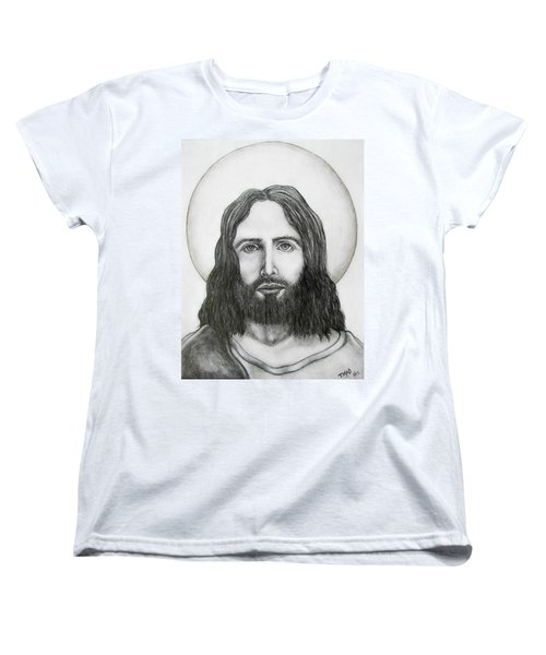 Women's T-Shirt (Standard Cut) featuring the drawing Jesus Christ by Michael  TMAD Finney
