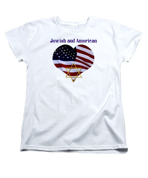Jewish And American Flag With Star Of David Women's T-Shirt (Standard Cut) by Rose Santuci-Sofranko