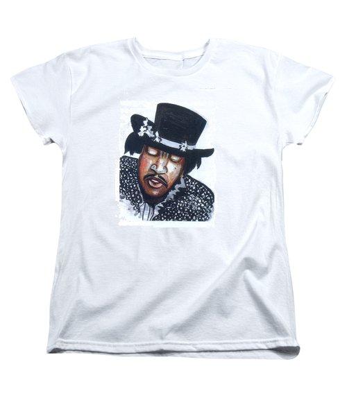 Women's T-Shirt (Standard Cut) featuring the painting Jimi Hendrix by Emmanuel Baliyanga