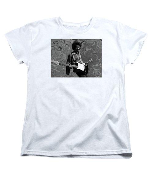 Women's T-Shirt (Standard Cut) featuring the photograph Jimi Hendrix Purple Haze B W by David Dehner