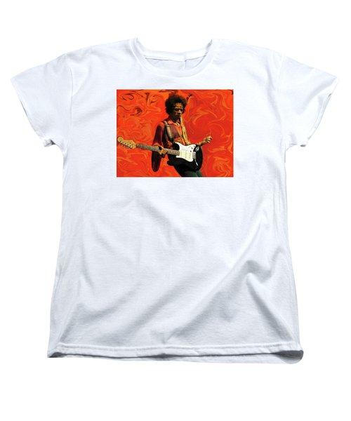 Women's T-Shirt (Standard Cut) featuring the photograph Jimi Hendrix Purple Haze Orange by David Dehner