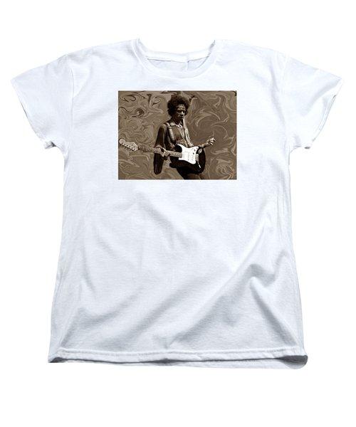 Women's T-Shirt (Standard Cut) featuring the photograph Jimi Hendrix Purple Haze Sepia by David Dehner
