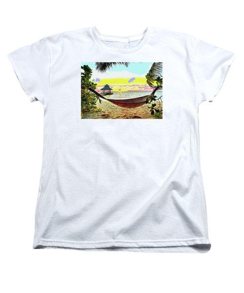 Jimmy Buffett's Margaritaville Women's T-Shirt (Standard Cut) by Charles Shoup