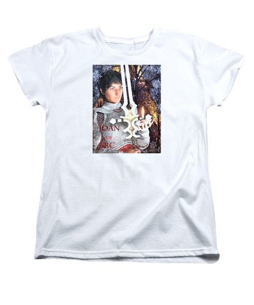 Women's T-Shirt (Standard Cut) featuring the painting Joan Of Arc Poster 2 by Suzanne Silvir