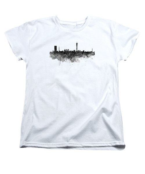 Johannesburg Black And White Skyline Women's T-Shirt (Standard Fit)