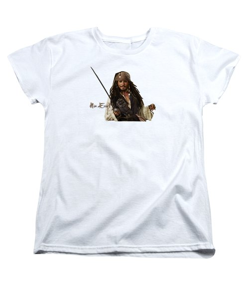 Johnny Depp, Pirates Of The Caribbean Women's T-Shirt (Standard Cut) by Maria Astedt
