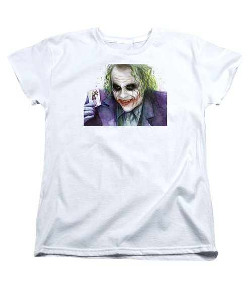 Joker Watercolor Portrait Women's T-Shirt (Standard Cut) by Olga Shvartsur