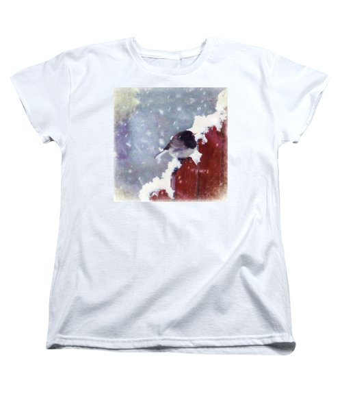 Junco In The Snow, Square Women's T-Shirt (Standard Cut) by Christina Lihani