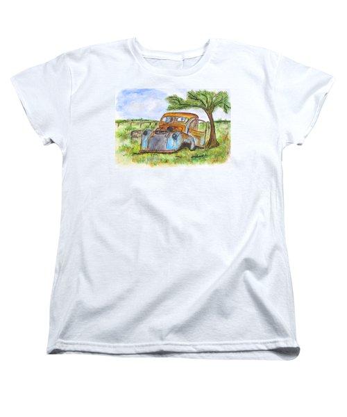 Junk Car And Tree Women's T-Shirt (Standard Cut) by Clyde J Kell