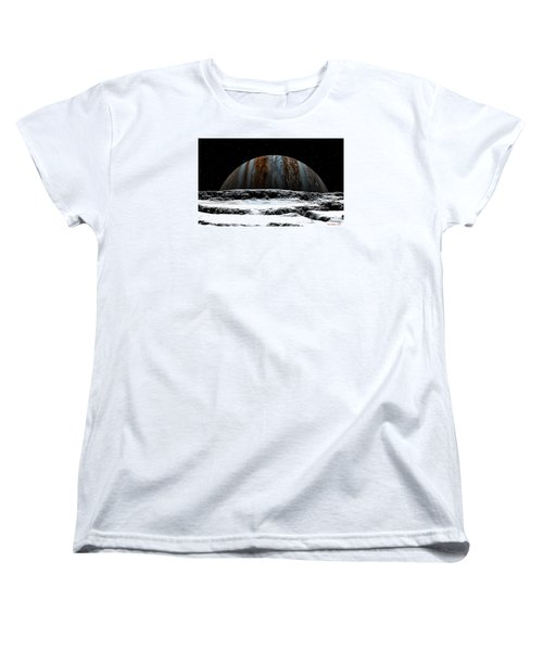 Women's T-Shirt (Standard Cut) featuring the digital art Jupiter Rise At Europa by David Robinson