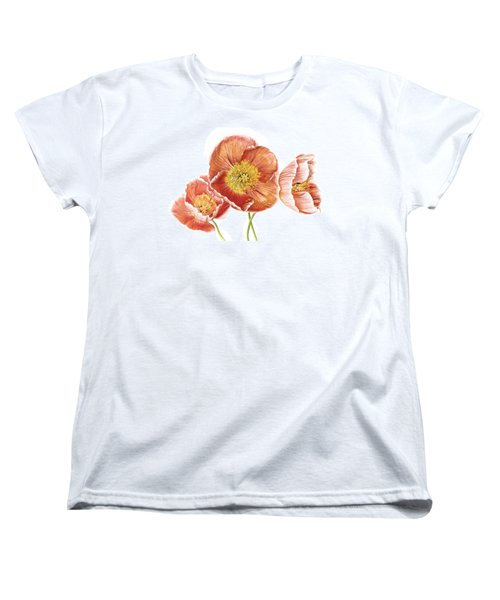 Just Peachy Poppies Women's T-Shirt (Standard Cut) by David and Carol Kelly