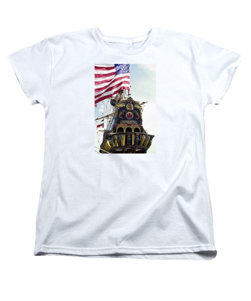 Kalmar Nyckel Tall Ship Women's T-Shirt (Standard Cut) by Sally Weigand
