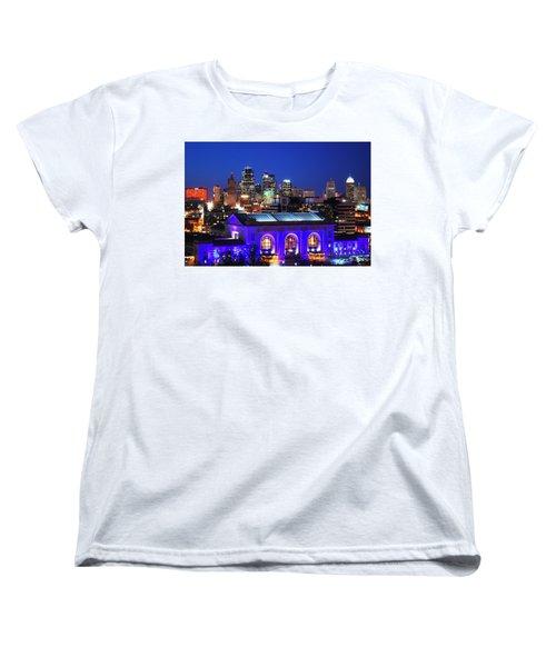 Kansas City Skyline At Night Women's T-Shirt (Standard Cut) by Matt Harang