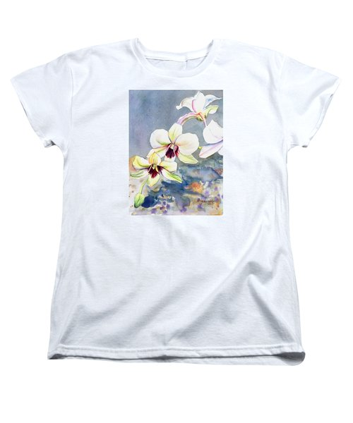 Women's T-Shirt (Standard Cut) featuring the painting Kauai Orchid Festival by Marionette Taboniar