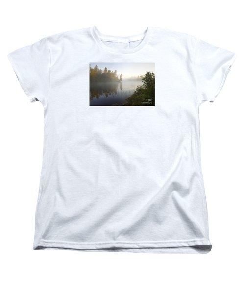 Women's T-Shirt (Standard Cut) featuring the photograph Kawishiwi Morning Fog by Larry Ricker