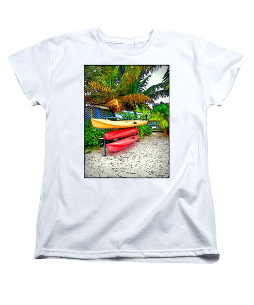 Kayaks In Paradise Women's T-Shirt (Standard Cut) by Joan  Minchak