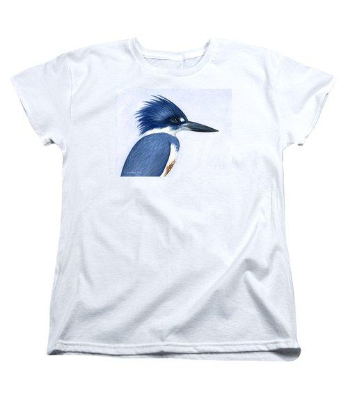 Kingfisher Portrait Women's T-Shirt (Standard Cut) by Charles Harden