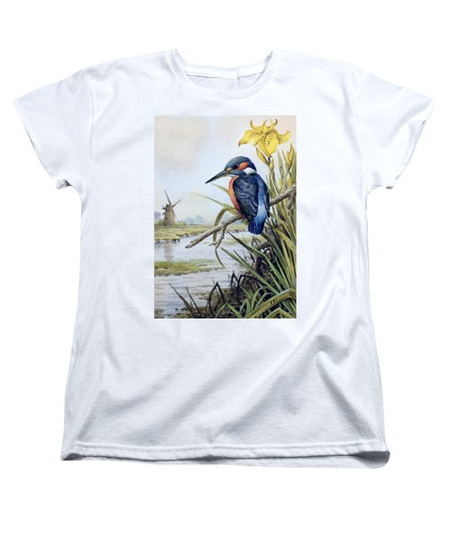 Kingfisher With Flag Iris And Windmill Women's T-Shirt (Standard Cut) by Carl Donner