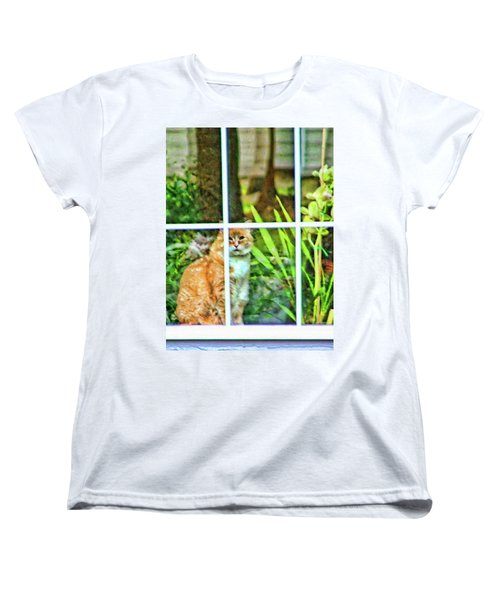 Women's T-Shirt (Standard Cut) featuring the photograph Kitty Reflections by Wendy McKennon