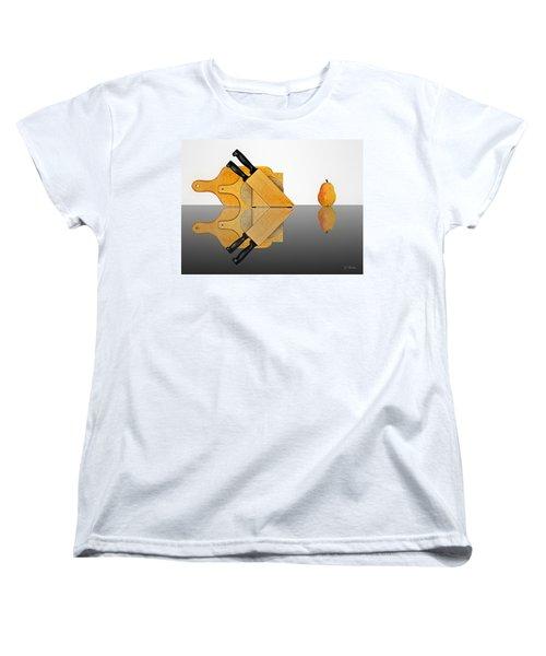 Knife Block, Cutting Boards And Pear Women's T-Shirt (Standard Cut) by Joe Bonita
