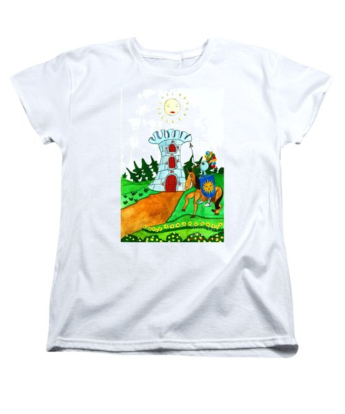Brave Knight-errant And His Funny Wise Horse Women's T-Shirt (Standard Cut) by Don Pedro De Gracia