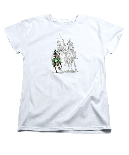 Women's T-Shirt (Standard Cut) featuring the drawing Knight Time - Renaissance Medieval Print Color Tinted by Kelli Swan