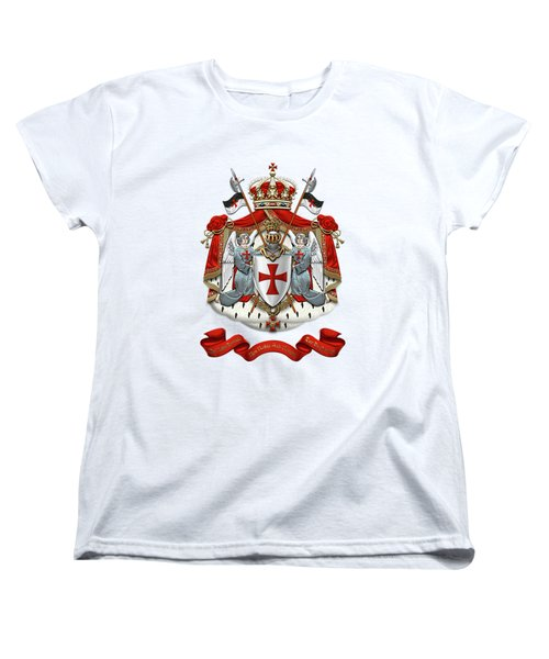 Knights Templar - Coat Of Arms Over White Leather Women's T-Shirt (Standard Cut) by Serge Averbukh